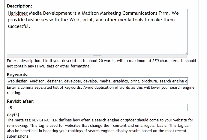 SEO - drupal insert tags and description screenshot